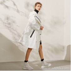 Limited special] unique custom fabrics fashionable sports wind waist draw belt Solid color hooded windbreaker jacket (2 colors