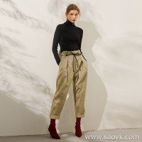 Limited special) high-end homemade trousers once again hit the sculpt of the figure female casual pants trousers (2 colors