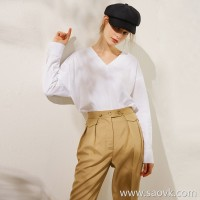 Limited special) high-end homemade DU home custom 100 high cotton atmosphere V-neck female solid color long-sleeved shirt 2 colors