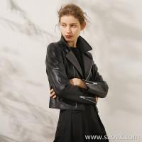 Limited edition) tailored slim version Turkish lambskin locomotive short leather jacket