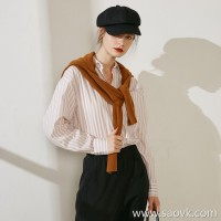 Limited special] one to one custom gentle warm color boyfriend casual ladies long sleeve shirt cardigan