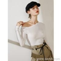 限 特] thin and delicate, new height, charming half-shoulder, solid long-sleeved sweater (3 colors)