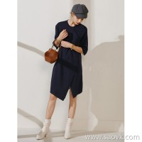 限 特) extravagant CHI original one hairy three-dimensional minimalist style wool cashmere round neck short-sleeved dress
