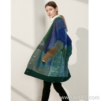 Limit special] CHAO grade heavy work! Multi-color block beautiful intertwined ladies warm cashmere sweater cardigan coat