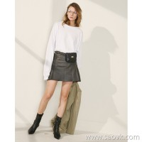 Limited special) limited! High-end homemade! Spanish lambskin lazy comfortable lady A word skirt skirt
