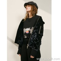 Limited edition] silk luster slimming cut three-dimensional rhombic warm quilted short coat