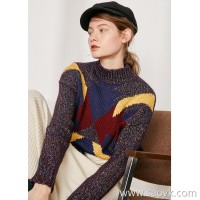 Limited edition】Limited Italian JIN mouth yarn Color silk woven contrast color block stitching ladies needle