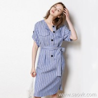 Limited special) [5% change season clearance] 10.8pm 2 o'clock discount effective Tencel horn buckle dress