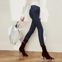 Limit special] cost-effective, the love of the legs! Deep blue elastic curled jeans