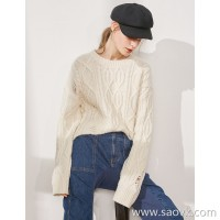Limited special) soft warm upgrade pure yak velvet slim trendy twisted knit top