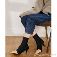 Limited pre-special] high-end self-made cheap JIN mouth stretch fabric can run away color stitching ankle boots 2 colors