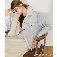 Limited special) delicate warm lamb hair liner sleeves quilted fashion denim jacket 2 colors