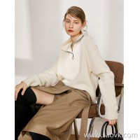 Limited special) thick and warm three-dimensional non-soft collapse collar cashmere + wool profile knit top