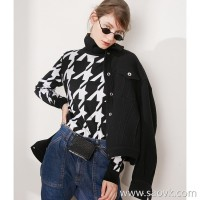 Limit special] focus on ten years fist base series double weave houndstooth high collar pullover