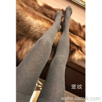 Limited special) direct over-received soft and velvet wool knit socks warm thin vertical stripes plain pantyhose