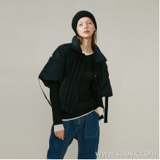 Limited] MISS HE high-end master fine cut series down + woolen stylish solid color short-sleeved down jacket