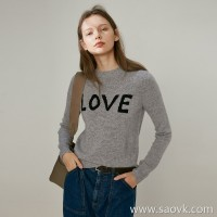 Limit special] fist cashmere high craft hanging hair LOVE hit color letter round neck pullover pure cashmere sweater 3 colors