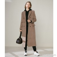 限 特] Original product Cost-effective Thick wool cashmere Vertical striped camel long wool coat