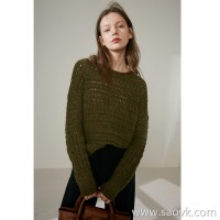 Limited edition] Peruvian JIN alpaca yarn olive green hollowwork round neck collar long-sleeved sweater