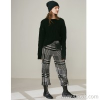 Limited special] very thin retro British fan thick black gray checkered women's pure cashmere casual pants trousers