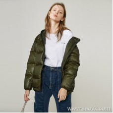 Limited special] very good to wear! High specification small playful age reduction ladies solid color hooded down jacket (4 colors