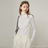 Limit special] fists are too fine, special shoulder line design, ladies solid color turtleneck sweater 5