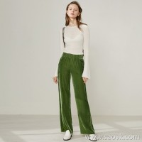 Limited special) Hong Kong factory out of high-grade velvet women's solid color casual wide-leg pants trousers (4 colors