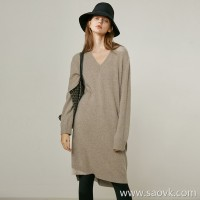 Limited special] fist cashmere classic atmospheric V-neck skirt open 衩 solid color pullover knit dress 3 colors