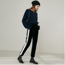 Limited special] cutting-edge quality! Different velveteen side white color block stitching ladies casual pants trousers