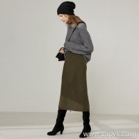 Limited special] fist cashmere warm thick geometric texture skirt open female solid color cashmere skirt 3 colors