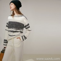 Limited stitch) tight stitching, yarn contrast, wool + cashmere collar, knit top