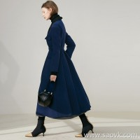 Limited edition) MISS HE high-end masters tailoring series Sea soul wind Legislature beautiful waistline wool coat