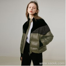 Limited special) Wang Ye produced love miserable material stitching fashion finger cots goose down jacket jacket 3 colors