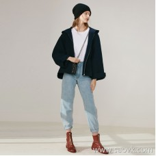 Limited to the small man very friendly soft air wool solid color hooded zipper short wool coat 2 colors