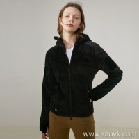 Limited] JIN velvet giant comfort warm care lady solid color hooded zipper cardigan sweater coat 2 colors