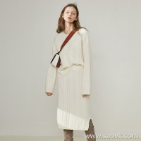 Limited special] gentle color thick warm pure cashmere twist texture skin-friendly casual knit skirt set (3