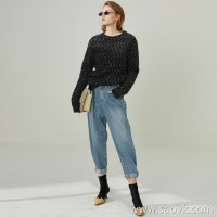 Limited to the factory clearance Peru JIN mouth delicate flower alpaca wool pullover sweater 2 colors