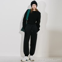 Limited special] high-grade goods afraid of cold ghosts look over thickening fleece letter print closing design casual pants