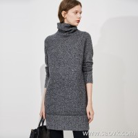 Limited special] fist cashmere AB yarn soft pure cashmere material high collar pullover knit dress (5 colors