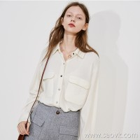 Limited special] cool full of front pockets embellished with solid color autumn and winter pure cashmere shirt (3 colors