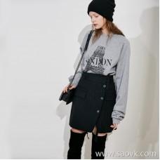 High-end Italian JIN mouth high-grade fabric skirt small open vertical stripes skirt skirt