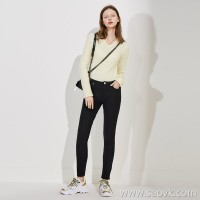 Limited edition) ZUI strong knit-like soft high-elasticity WU enemy slimming lining plus black jeans