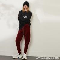 限 特] for the factory clearance beautiful Christmas red waist tie tying velvet ladies casual pants trousers