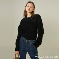 Limited special) high-end homemade soft and thick pure yak velvet three-dimensional profile sleeve round neck pullover sweater 6
