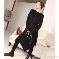 Limited special] Wang Ye produced blasting comfortable to wear modal cashmere irregular skirt round neck skirt