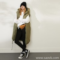 Limit special) fluffy texture master's endings White goose down filled hooded long goose down vest 2 colors