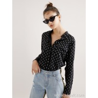 Limited pre-special] 2019 early spring new three-dimensional silver tower printing ladies casual silk long-sleeved shirt