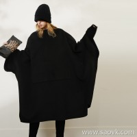 Limited edition) MISS HE high-end homemade master fine series Three-dimensional silhouette cut wool and cashmere cloak