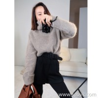 Limited special) MISS HE high-end homemade cashmere + raccoon fluff High-necked long-sleeved sweater (2 colors)