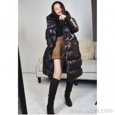 Limited to be warm embraced by gentle care. Denim pocket stitching goose down long down jacket 3 colors